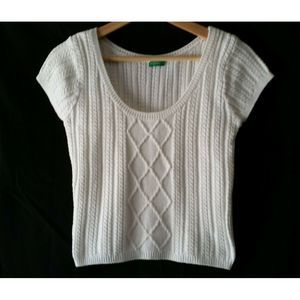 United Colors of Benetton Med White Crop Sweater